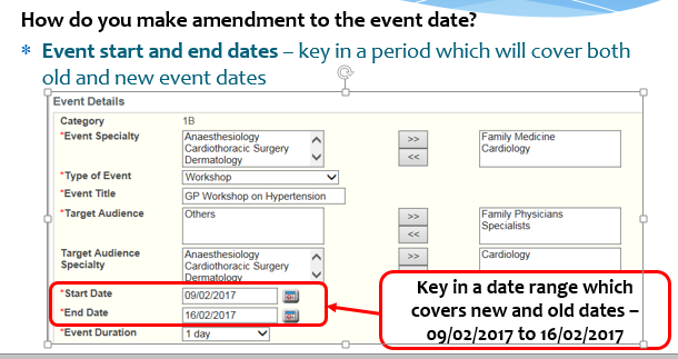 Event Start and end dates